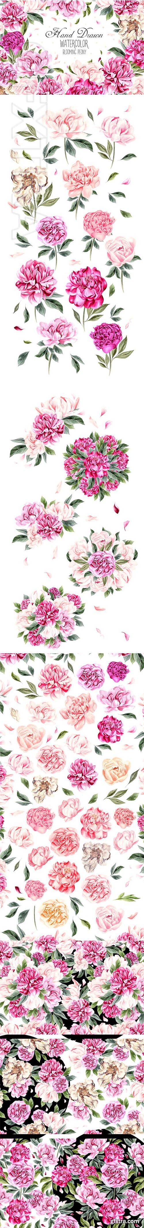 CreativeMarket - Hand Drawn Watercolor Blooming Peony 2683465