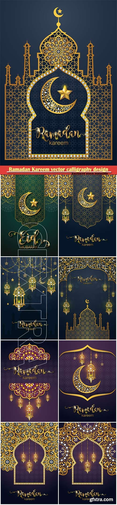 Ramadan Kareem vector calligraphy design with decorative floral pattern, mosque silhouette, crescent and glittering islamic background # 32