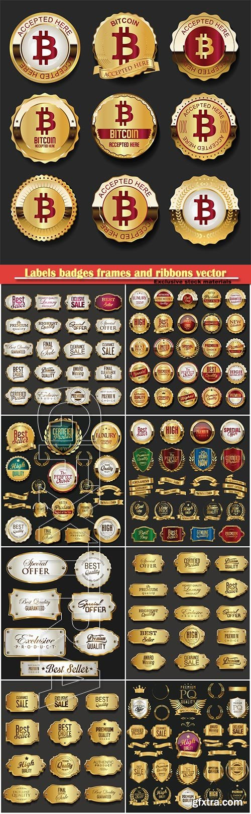 Labels badges frames and ribbons vector collection, bitcoin gold labels