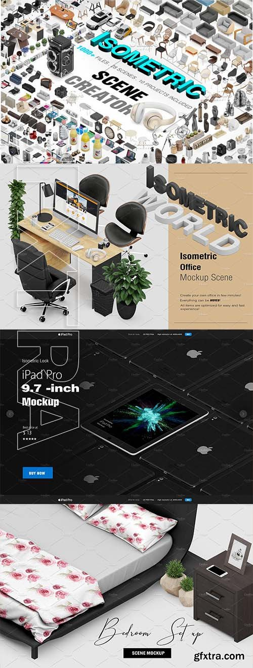 CreativeMarket - Isometric Scene Creator Mockup 2623442