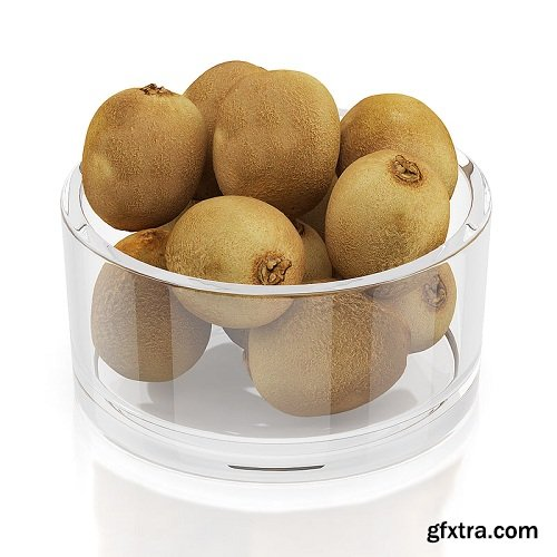 Kiwi fruits in glass bowl 3d Model