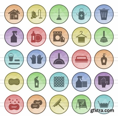 Math Symbols_Sewing_Poly Men\'s Accessories_Cleaning Services_Climatic Equipment Filled Low Poly Icons