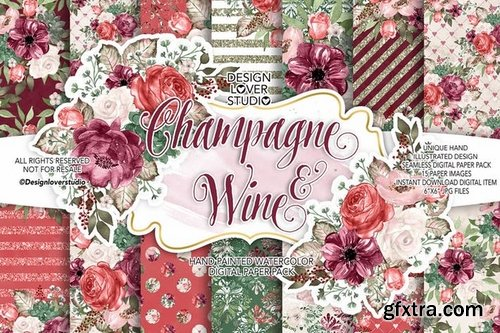 Champagne_Wine_Unicorn_Back to School digital paper pack