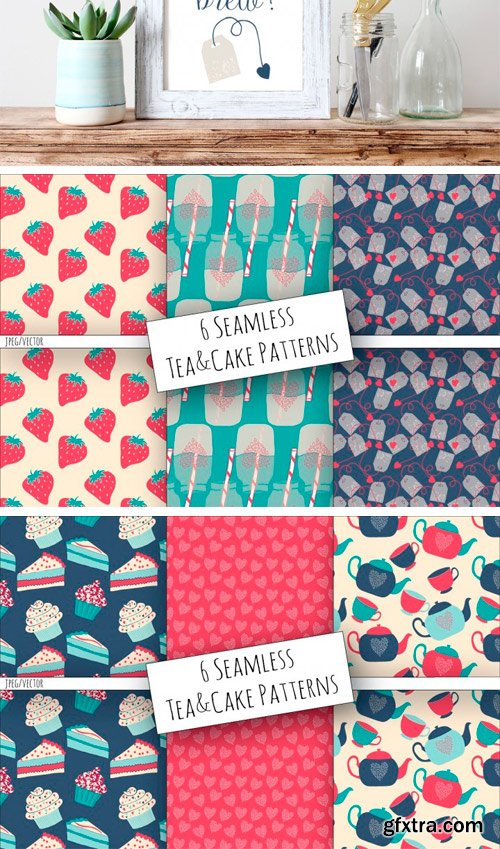 Thehungryjpeg - Tea & Cake Clipart and Seamless Pattern Collection 3449911