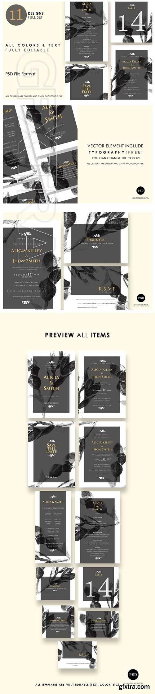 CreativeMarket - Minimalist Wedding Invitation Ac7