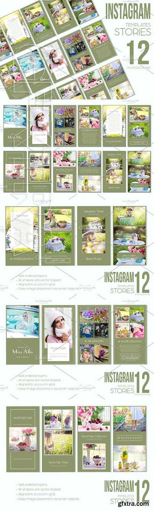 CreativeMarket - Instagram Stories Pack Green Day