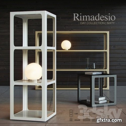 Shelving and table Rimadesio Sixty 3d Model