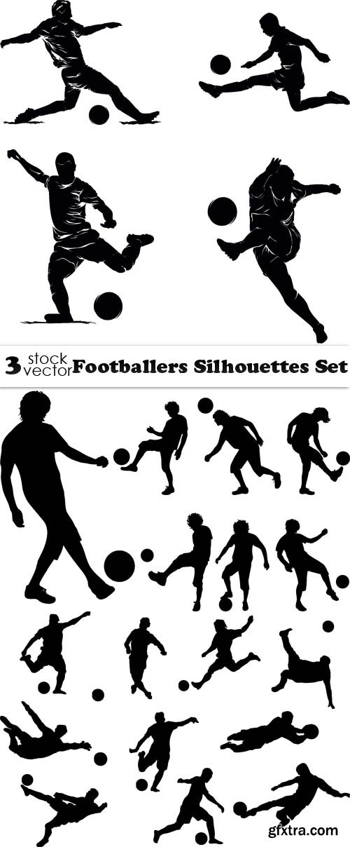 Vectors - Footballers Silhouettes Set