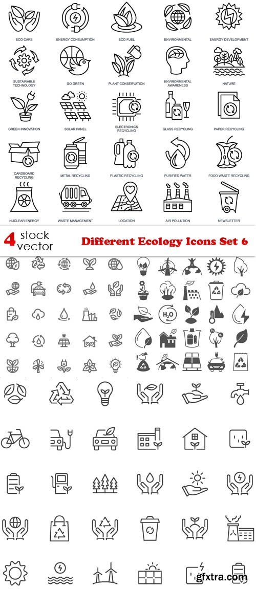 Vectors - Different Ecology Icons Set 6