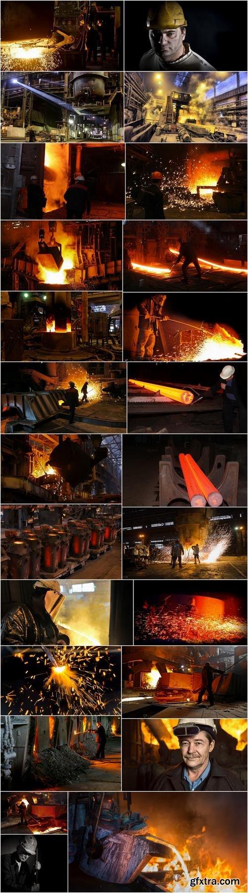 Steelmaker metallurgical blast furnace melting metal factory factory worker 25 HQ Jpeg