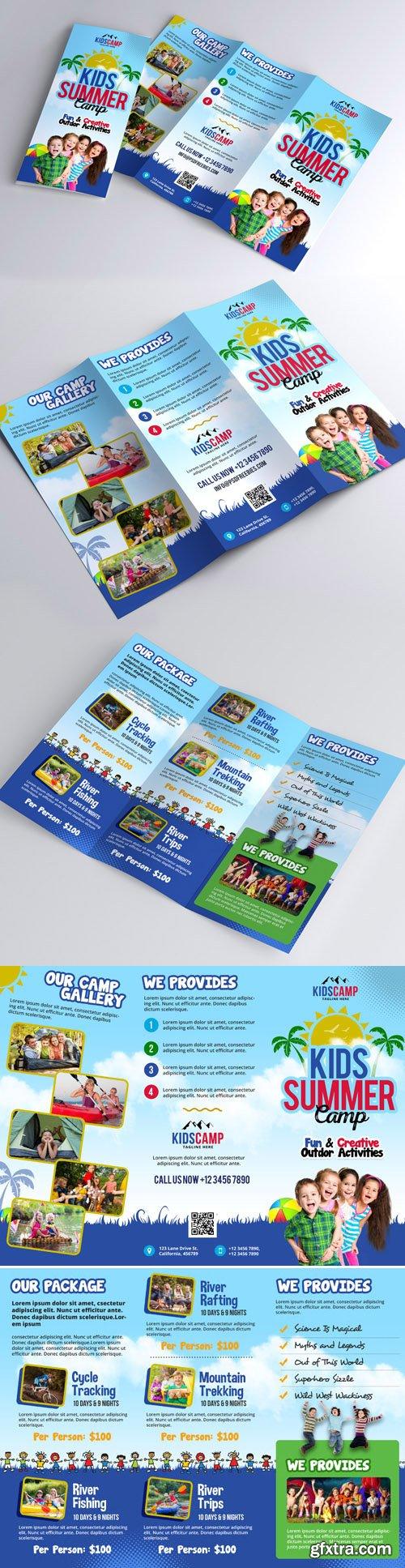 Kids Camp - Summer Trifold Brochure Design PSD Template