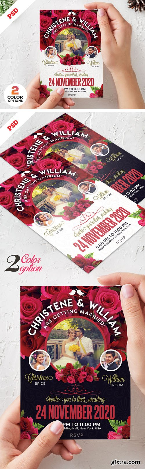Wedding Invitation Card PSD Template Set