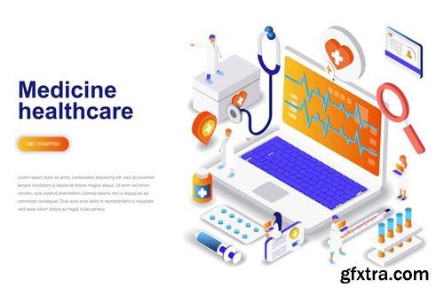 Medicine and Healthcare Isometric Concept