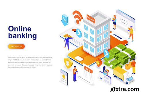Online Banking Isometric Concept
