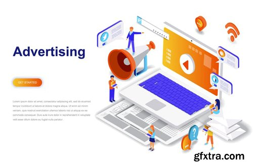 Advertising and Promo Isometric Concept