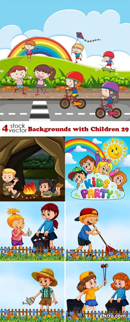 Vectors - Backgrounds with Children 29