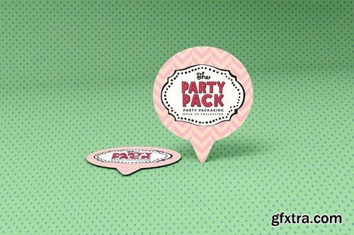 Cupcake Topper Party Packaging Mockup