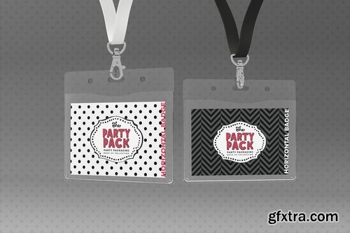 Name Badges with Lanyards Party Packaging Mockup