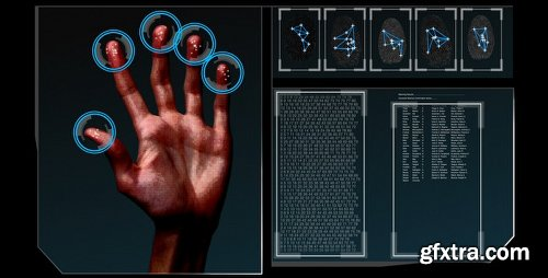 Videohive HD Fingerprint Scan Identification Interface 277095