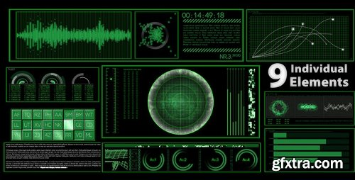 Videohive Digital Data HUD Elements - 9 Styles 5215402