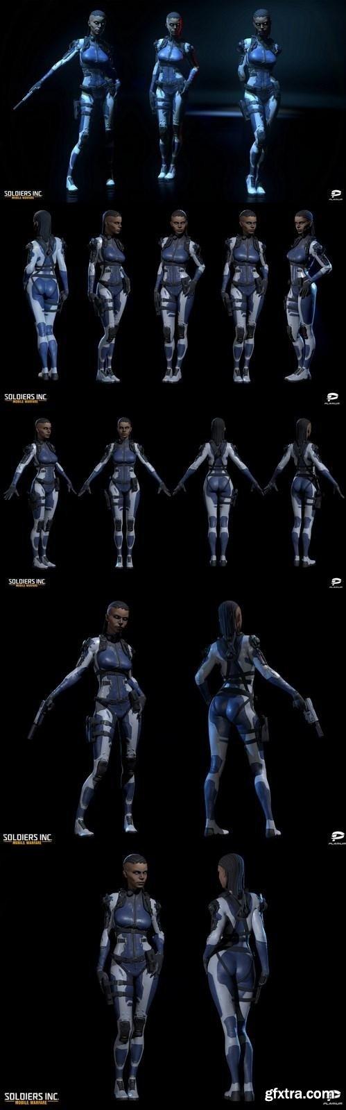 Scifi Warrior Girl 3D Model