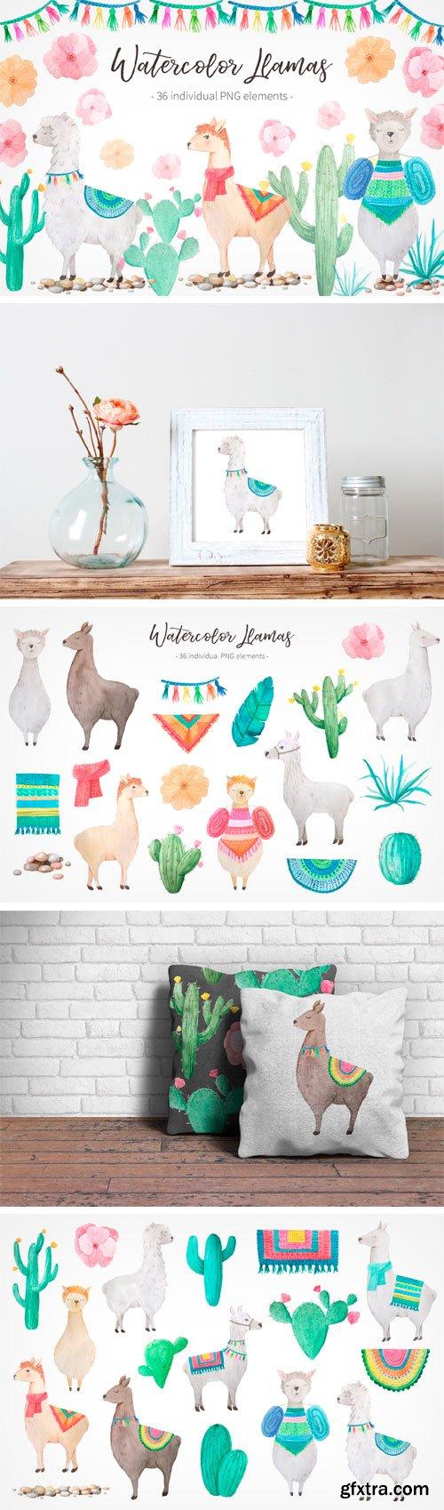 Designbundles - Watercolor Llamas 46881