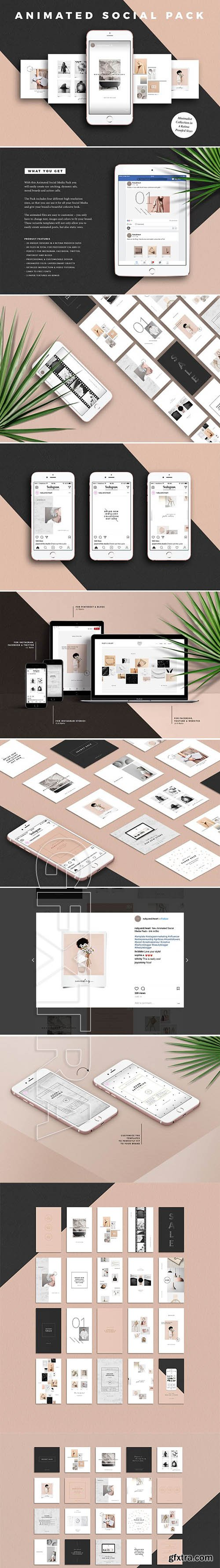 CreativeMarket - ANIMATED Minimalist Social Media Kit 2684310