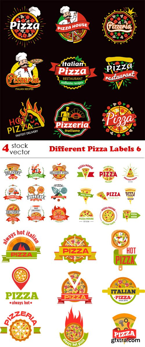 Vectors - Different Pizza Labels 6