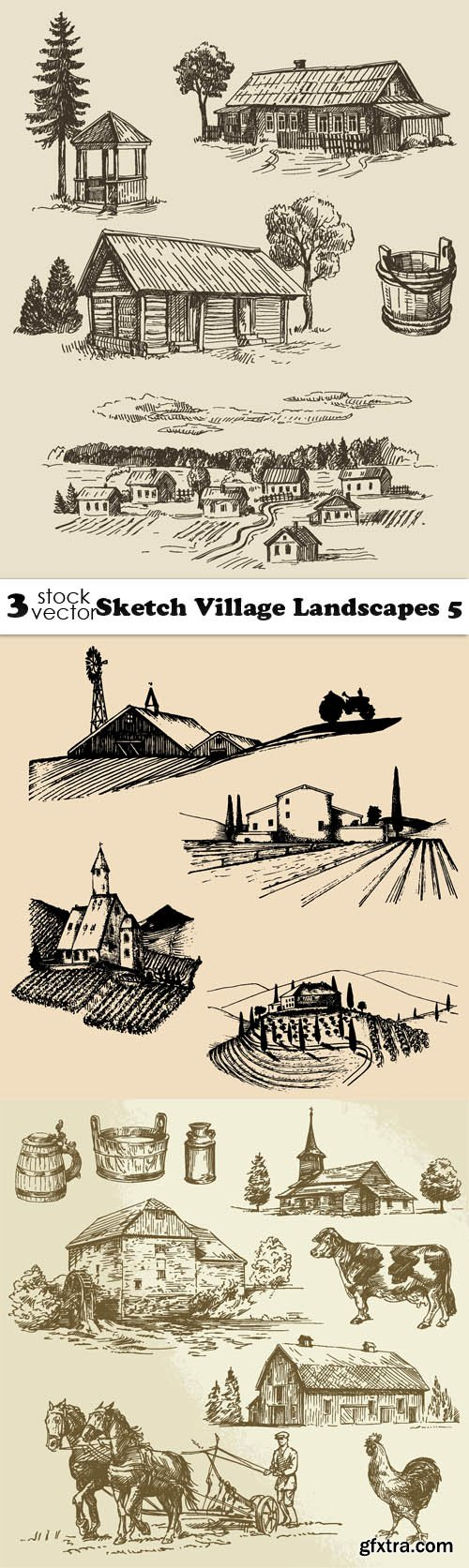 Vectors - Sketch Village Landscapes 5