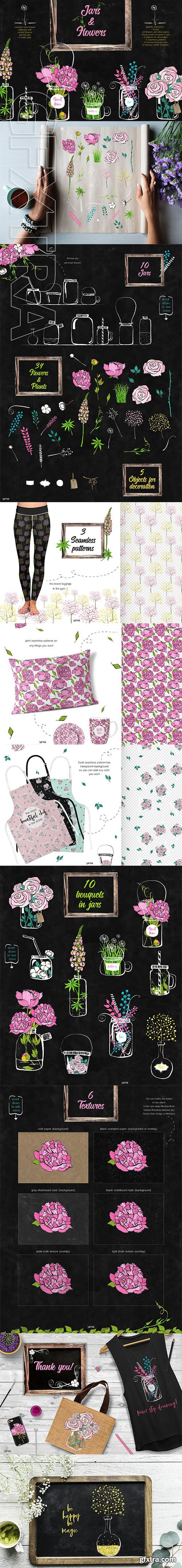 Flowers and jars clipart collection
