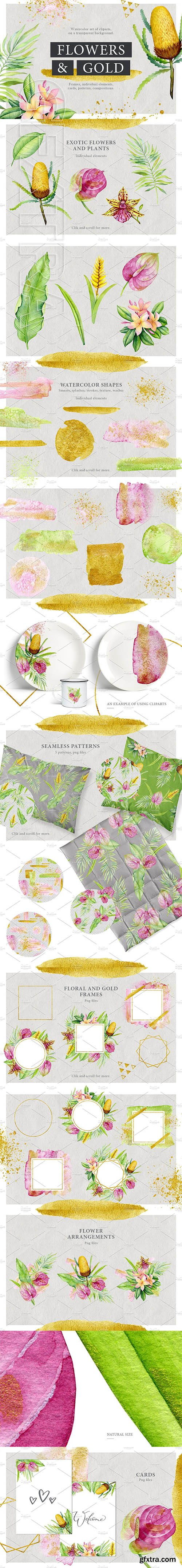 CreativeMarket - Watercolor stains & tropical flowers 2580670