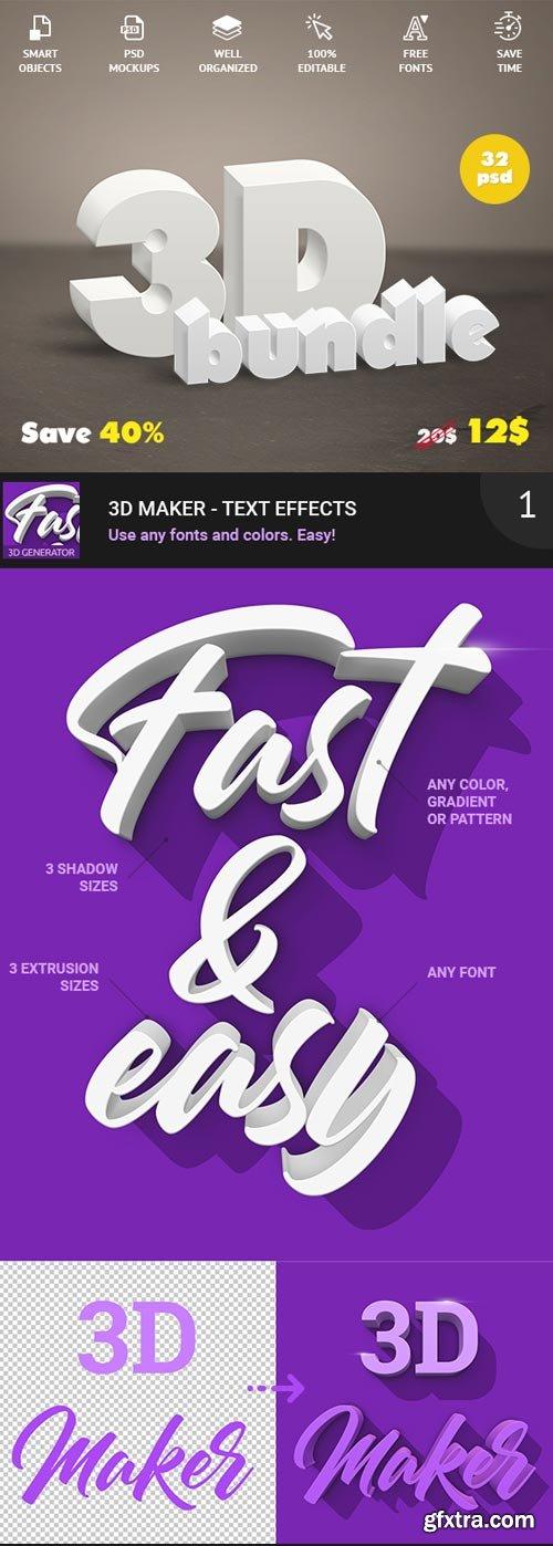 GraphicRiver - 3D Bundle - Text Effects - 21839412