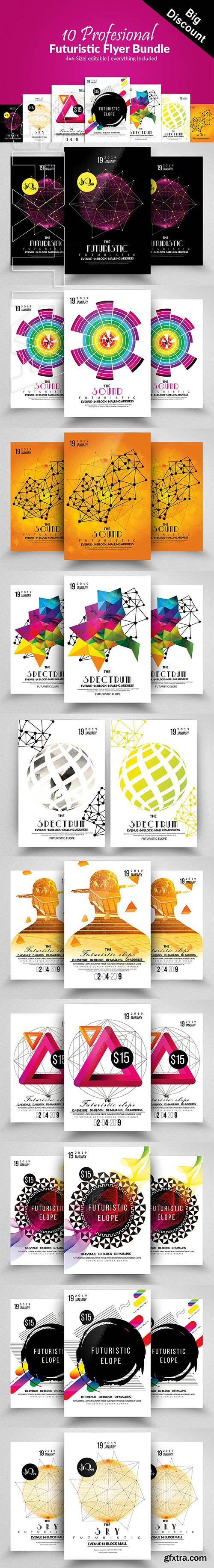 CreativeMarket - 10 Futuristic Electro Flyer Bundle 2683763