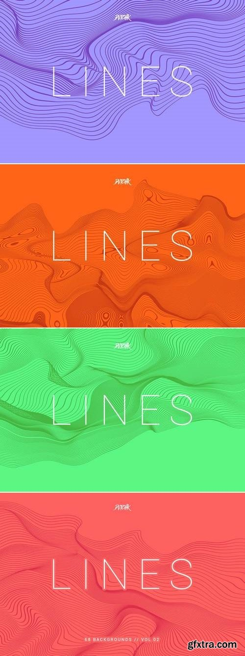 Lines   Abstract Wavy Backgrounds   Vol. 02