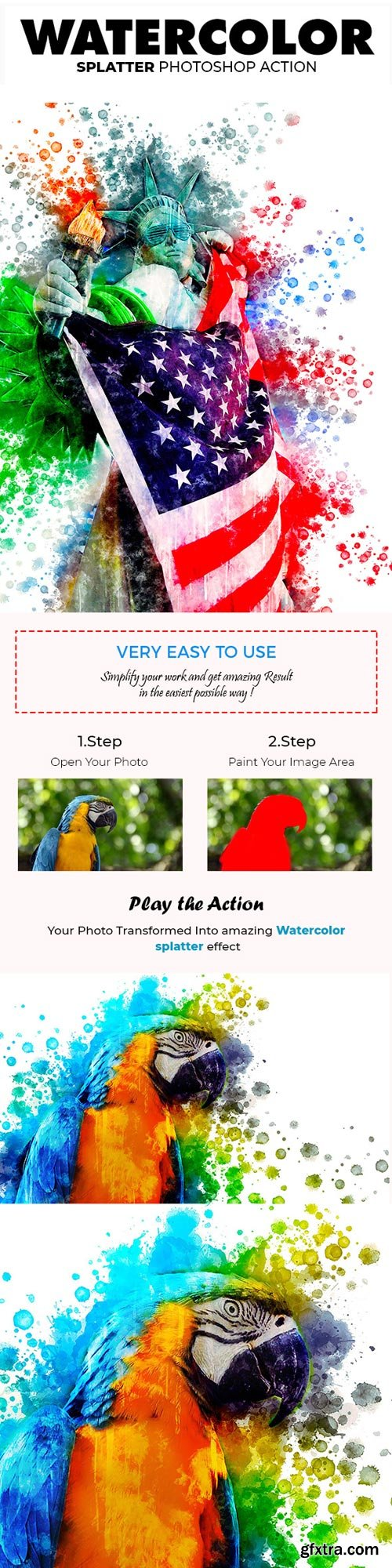 GraphicRiver - Watercolor Splatter Photoshop Action - 21653132