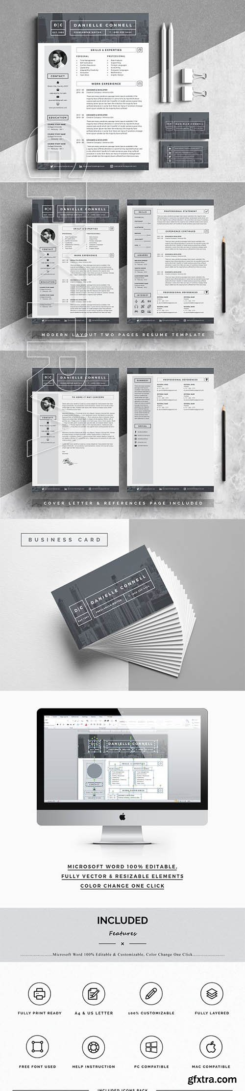 CreativeMarket - Modern Resume Word Pages 2634880