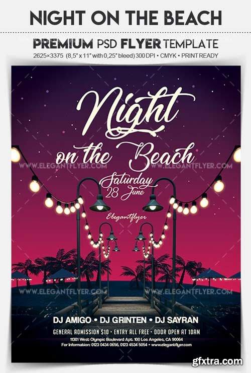Night on the Beach V1 2018 Flyer PSD Template
