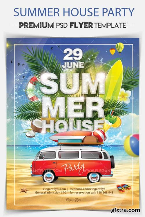 Summer House Party V004 2018 Flyer PSD Template