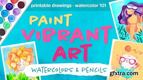 Paint vibrant illustration art with watercolors and pencils