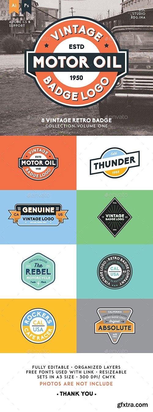 GraphicRiver - 8 Vintage Retro Badge 15829348