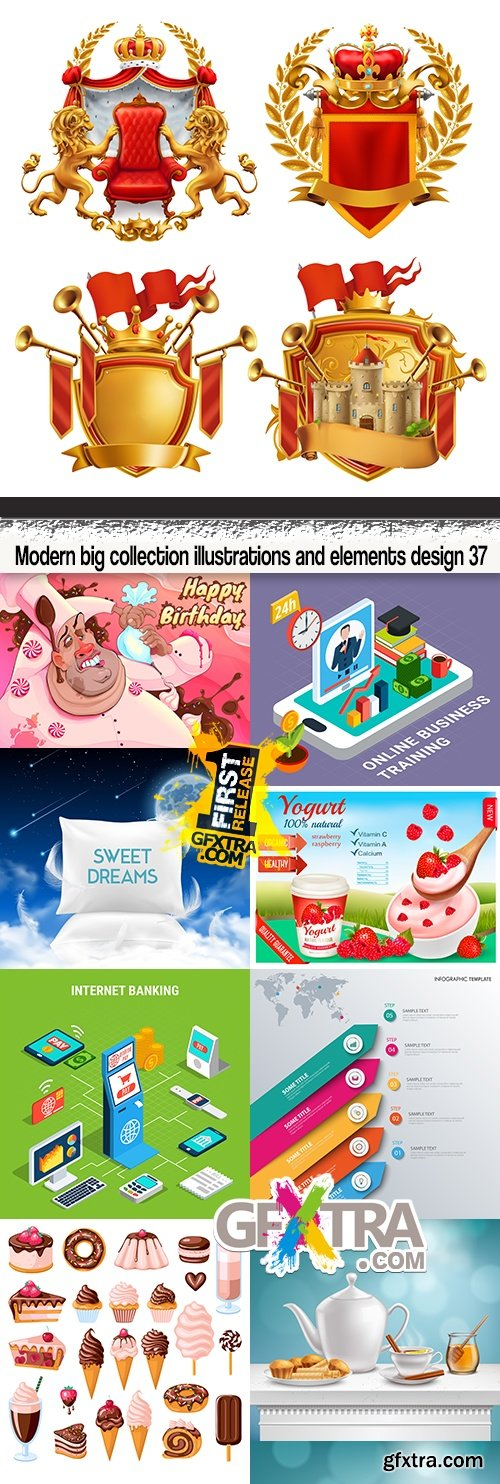Modern big collection illustrations and elements design 37