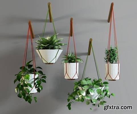 Modern green basket basket combination 3D model