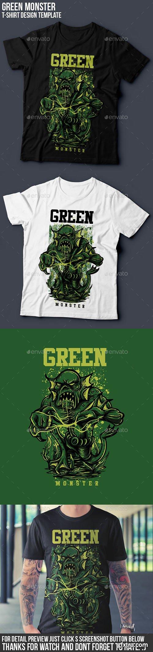 GraphicRiver - Green Monster T-Shirt Design 14496421