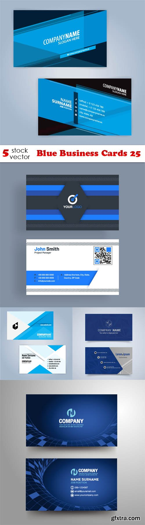 Vectors - Blue Business Cards 25