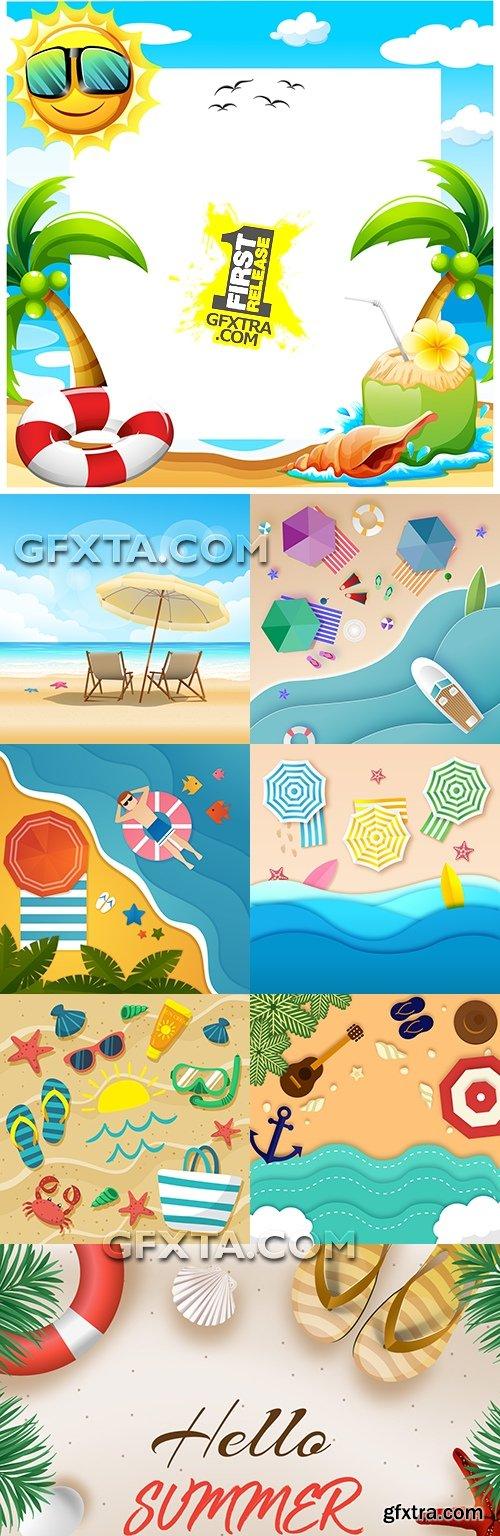 Summer beach blue sea and beach accessories