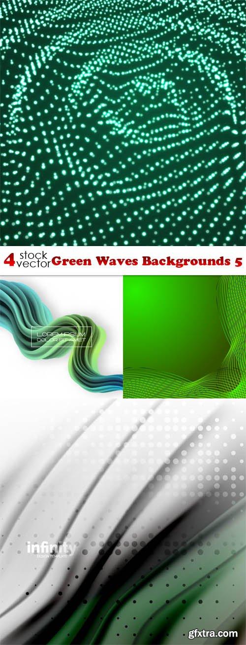 Vectors - Green Waves Backgrounds 5
