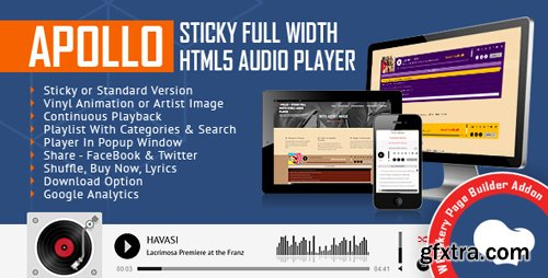 CodeCanyon - Apollo - Sticky Full Width HTML5 Audio Player for WPBakery Page Builder v1.3 (formerly Visual Composer) - 21396461