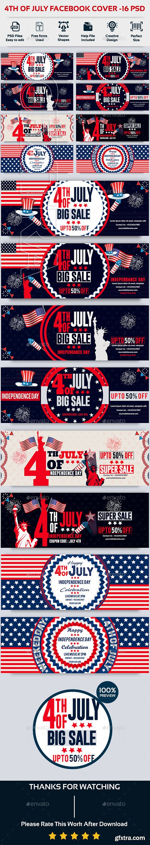 GraphicRiver - 4th of July Facebook Cover-Bundle-16 PSD 22208538