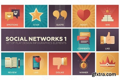 Hobby and Social networks - sets of flat design infographics elements