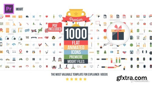 Videohive Flat Animated Icons Library Essential Graphics | Mogrt 22003103